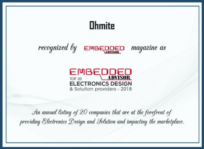 Ohmite certificate of recognition