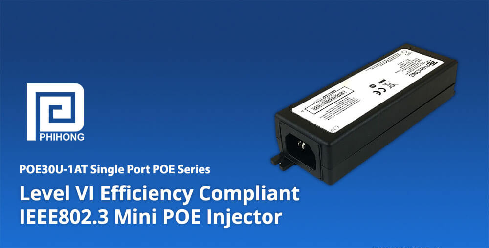 30 watt POEA30U-1AT single-port Power-over-Ethernet POE injector - Phihong