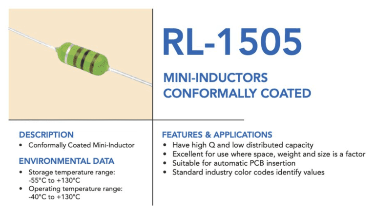 Conformally coated mini inductors